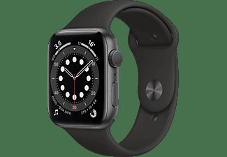APPLE Watch Series 6 (GPS), 44 mm Aluminiumgehäuse Space Grau, Sportarmband Schwarz Smartwatch Aluminium Fluorelastomer, 140 - 220 mm, Schwarz/Space Grau