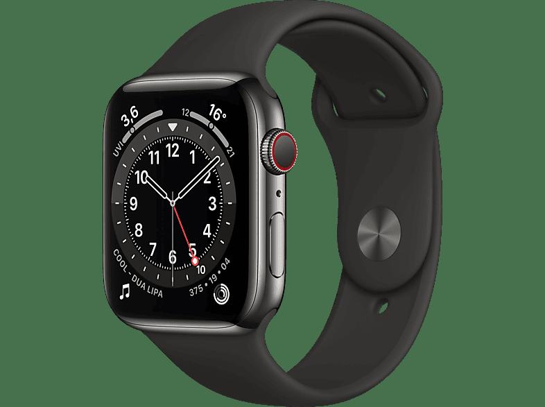 APPLE Watch Series 6 (GPS Cellular) 44mm Smartwatch Edelstahl Fluorelastomer, 140 210 mm, Armband Schwarz, Gehäuse Graphit
