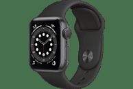 APPLE Watch Series 6 (GPS) 40mm Smartwatch Aluminium Fluorelastomer, 130 - 200 mm, Schwarz