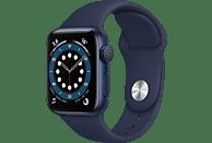 APPLE Watch Series 6 (GPS), 40 mm Aluminiumgehäuse Blau, Sportarmband Dunkelmarine Smartwatch Aluminium Fluorelastomer, 130 - 200 mm, Blau/Dunkelmarine