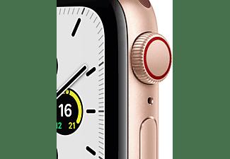 APPLE Watch SE (GPS + Cellular) 40mm Smartwatch Aluminium Nylon, 130 - 200 mm, Armband: Pflaume, Gehäuse: Gold