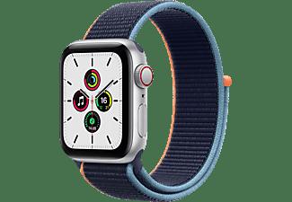 APPLE Watch SE (GPS + Cellular) 40mm Smartwatch Aluminium Nylon, 130 - 200 mm, Armband: Dunkelmarine, Gehäuse: Silber