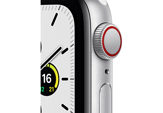 APPLE Watch SE (GPS + Cellular) 40mm Smartwatch Aluminium Fluorelastomer, 130 - 200 mm, Armband: Weiß, Gehäuse: Silber