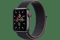 APPLE Watch SE (GPS + Cellular) 40mm Smartwatch Aluminium Nylon, 130 - 200 mm, Armband: Kohlegrau, Gehäuse: Space Grau