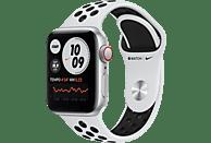 APPLE Watch SE Nike (GPS + Cellular) 40mm Smartwatch Fluorelastomer, 130 - 200 mm, Silber/Schwarz