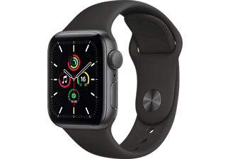 APPLE Watch SE 40mm Smartwatch Fluorelastomer , 130 - 200 mm, Space Grau/Schwarz