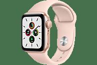 APPLE Watch SE (GPS), 40 mm Aluminiumgehäuse Gold, Sportarmband Sandrosa Smartwatch Fluorelastomer , 130 - 200 mm, Gold/Sandrosa