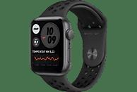 APPLE Watch SE Nike (GPS) 44mm Smartwatch Fluorelastomer, 140 - 220 mm, Space Grau /Schwarz