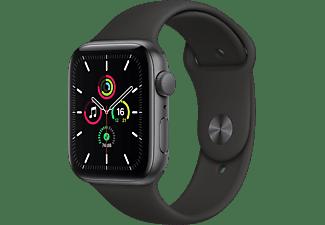 APPLE Watch SE (GPS), 44 mm Aluminiumgehäuse Space Grau, Sportarmband Schwarz Smartwatch Fluorelastomer , 140 -220 mm, Space Grau/Schwarz