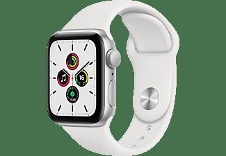 APPLE Watch SE 40mm Smartwatch Fluorelastomer , 130 - 200 mm, Silber/Weiß
