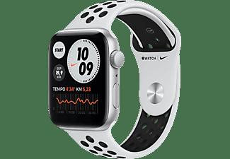 APPLE Watch SE Nike (GPS) 44mm Smartwatch Fluorelastomer, 140 - 220 mm, Silber/Schwarz