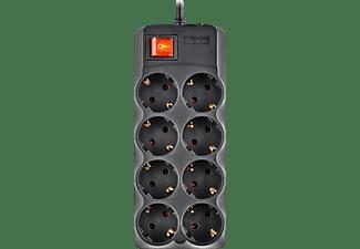 Regleta - NGS POLE800, 8 Enchufes, Cable 1.5 m, Interruptor encendido / apagado, Negro