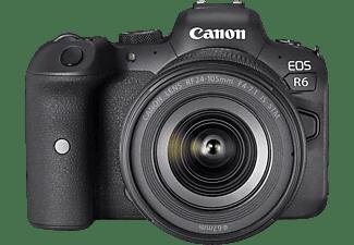 Cámara EVIL - Canon EOS R6, 20.1 megapixel, RF 24-105mm F4-7.1, CMOS, 7.5 cm, Digic X, WiFi, Vídeo 4K, Negro
