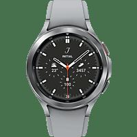 SAMSUNG Galaxy Watch4, Classic Stainless Steel, BT, 46 mm Smartwatch Edelstahl Fluorkautschuk, M/L, Silver