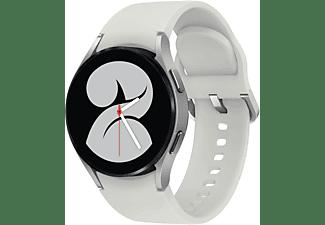 SAMSUNG Galaxy Watch4, BT, 40 mm Smartwatch Aluminium Fluorkautschuk, S/M, Silver