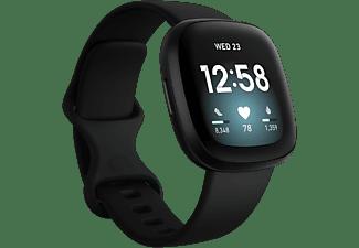Smartwatch - Fitbit Versa 3, Negro, Funciones de salud avanzadas, GPS, Frecuencia cardiaca, + 6 días batería