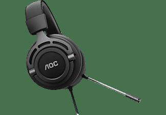 Auriculares gaming - AOC GH200, Con cable, Micrófono, 2.0, Diadema, Jack de 3.5 mm, Multiplataforma, Negro
