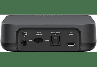 Transmisor y receptor audio - Sennheiser T100, Bluetooth, Control remoto, Jack 3.5 mm, Negro