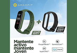 """Pulsera de actividad - Amazfit  Band 5, 1.1"""", 162 a 235 mm, BT 5.0, 5 ATM, Verde + Correa Band 5 Negra"""