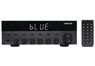 Amplificador estéreo - Fonestar AS-1515, Hi-Fi, 30W RMS, 70 dB, 20 - 20000 Hz, Control remoto, Negro
