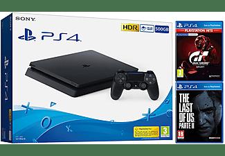 Consola - Sony PS4, 500 GB, Negro + Gran Turismo Sport + The Last of Us Parte II