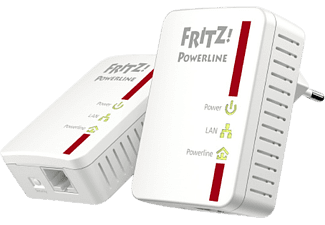 Adaptador PLC – AVM Fritz! Powerline 510E Set, 2 unidades, 500 mbps, IPv6, Plug & Play, AES 128 bits, Blanco