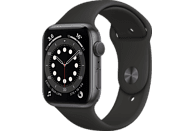 Apple Watch Series 6, GPS, 44 mm, Caja de aluminio en gris espacial, Correa deportiva negra
