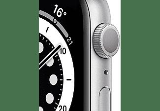 Apple Watch Series 6, GPS, 44 mm, Caja de aluminio en plata, Correa deportiva blanca