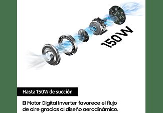 Aspirador escoba - Samsung Multi Cyclone Jet 70 Digital Inverter, 150 W, 0.8 l, Autonomía 40 min, Plata/Blanco
