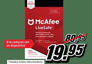 Antivirus - McAfee LiveSafe, Suscrip. 1 año, Multidispositivo (Formato Físico)