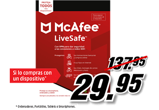 Antivirus - Mcafee LiveSafe + Safe Connect Premium 2020 (Formato físico)