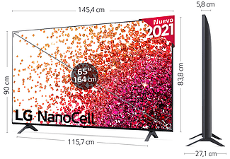 "TV LED 65"" - LG 65NANO756PA, 4K NanoCell, SmartTV WebOS 6.0 Premium, 4k Quad Core, Asistente de Google, Alexa"