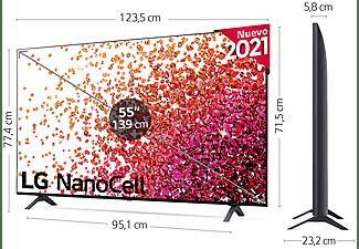 """TV LED 55"""", LG 55NANO756PA, UHD 4K, 4k Quad Core, Smart TV, DVB-T2 (H.265), Azul Ceniza / Negro Claro"""