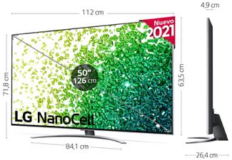 "TV OLED 50"" - LG 50NANO886PB, 4K UHD, 120 Hz, SmartTV webOS 6.0, α7 Gen4 con AI, Dolby Vision y Atmos, Plata"