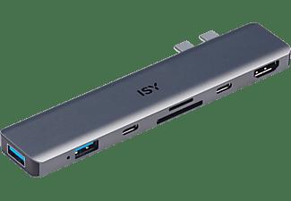 ISY Adapter IAD-1021 USB-C 5-in-1 mit Power Delivery für MacBook Pro, 4K/30Hz, Silber