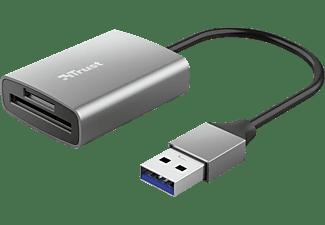 Lector de tarjetas - Trust Dalyx, Tarjetas microSD, Tarjetas SD, USB-A, 140 Mbit/s, Plata