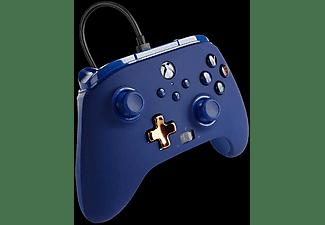 Mando - PowerA Enhanced, Para mando Xbox Series X/S, Cable, USB, Jack 3.5 mm, Azul Medianoche