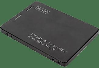 DIGITUS Festplattengehäuse DA-71118, M.2 oder mSATA auf 2.5 Zoll, SATA III, Schwarz