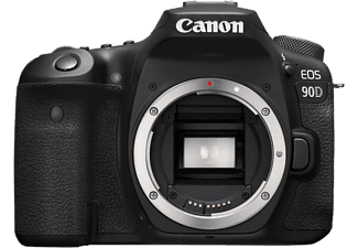 Cámara réflex - Canon EOS 90D, Sensor CMOS 32.5 MP, Vídeo 4K, 45 puntos AF, ISO 25600, Wi-Fi, Bluetooth, Negro