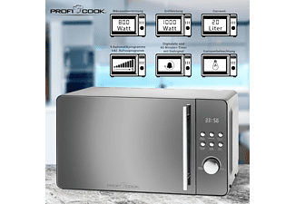 PROFI COOK Mikrowelle mit Grill PC-MWG 1175 silber