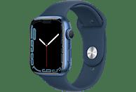 APPLE Watch Series 7 GPS 45mm Aluminiumgehäuse,Sportarmband, Blau/Abyssblau
