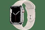 APPLE Watch Series 7 GPS + Cell 45mm Edelstahlgehäuse, Sportarmband, Silber/Polarstern