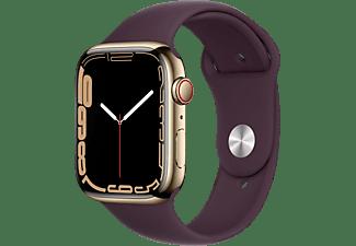 APPLE Watch Series 7 GPS + Cell 45mm Edelstahlgehäuse, Sportarmband, Gold/Dunkelkirsch