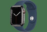 APPLE Watch Series 7 GPS + Cell 45mm Edelstahlgehäuse, Sportarmband, Graphit/Abyssblau