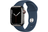 APPLE Watch Series 7 GPS + Cell 41mm Edelstahlgehäuse, Sportarmband, Graphit/Abyssblau