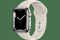 APPLE Watch Series 7 GPS + Cell 41mm Edelstahlgehäuse, Sportarmband, Silber/Polarstern