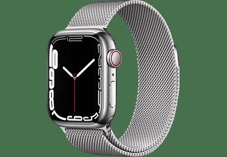 APPLE Watch Series 7 GPS + Cell 41mm Edelstahlgehäuse, Milanaisearmband, Silber