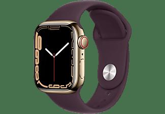 APPLE Watch Series 7 GPS + Cell 41mm Edelstahlgehäuse, Sportarmband, Gold/Dunkelkirsch