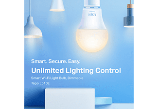 TP-LINK Smarte WLAN-Glühbirne Tapo L510E, 806 Lumen, 8.7 W, 2700K, Dimmbar, E27, Weiß