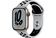 APPLE Watch Nike Series 7 GPS + Cell 41mm Aluminiumgehäuse, Sportarmband, Polarstern/Pure Platinum/Schwarz